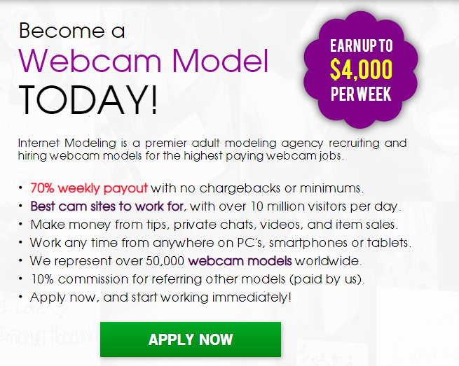 Work from home as web cam models